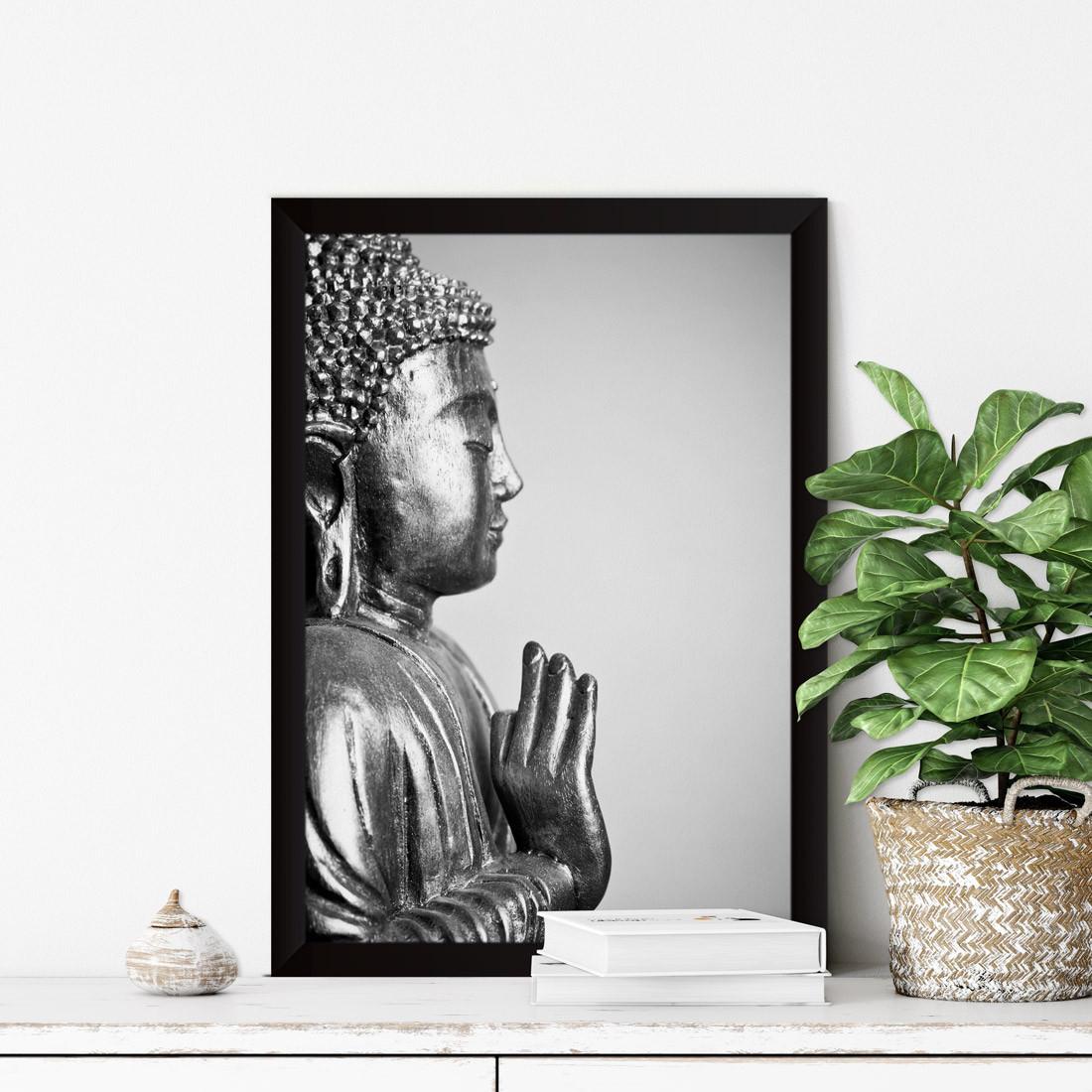 Quadro Decorativo Buddha Vitarka Mudra Preto e Branco