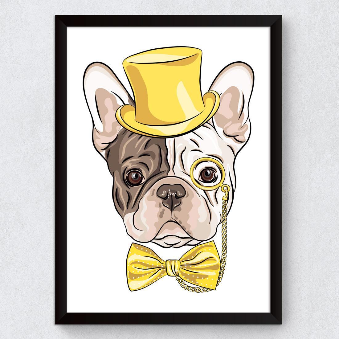 Quadro Decorativo Bulldog Hipster