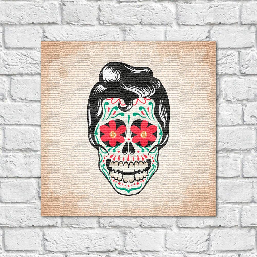 Quadro Decorativo Caveira Mexicana Homem - Em Canvas