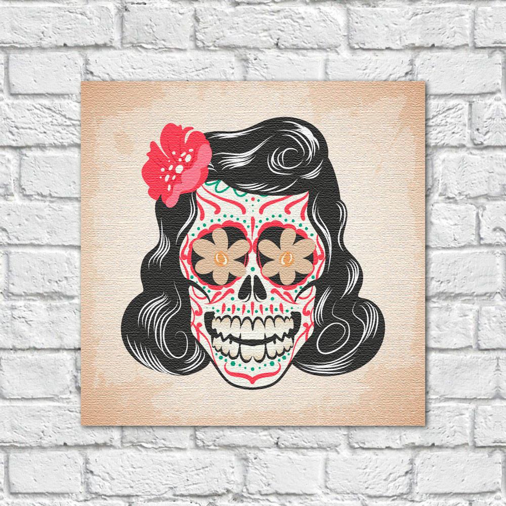Quadro Decorativo Caveira Mexicana Mulher - Em Canvas