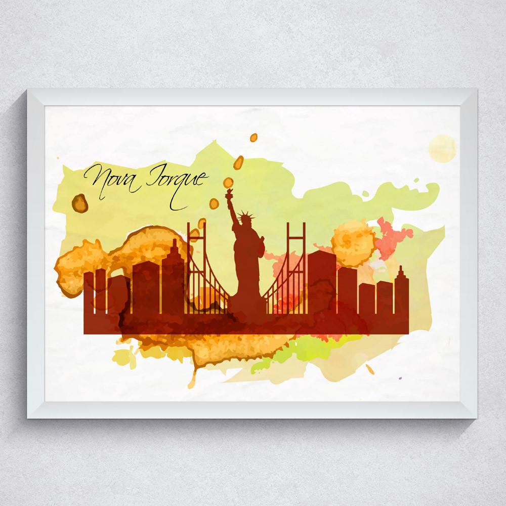 Quadro Decorativo New York EUA Com Moldura Branca