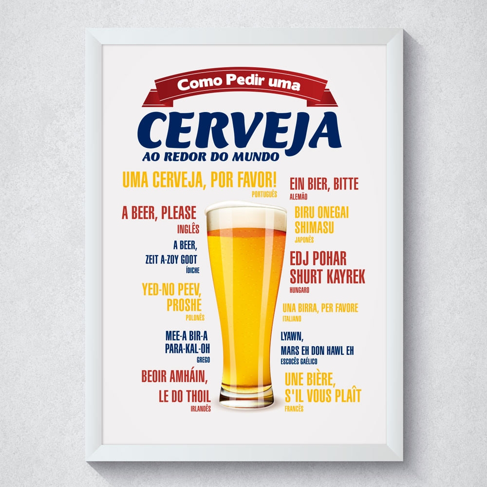 """Quadro Decorativo """"Como Pedir Uma Cerveja"""""""