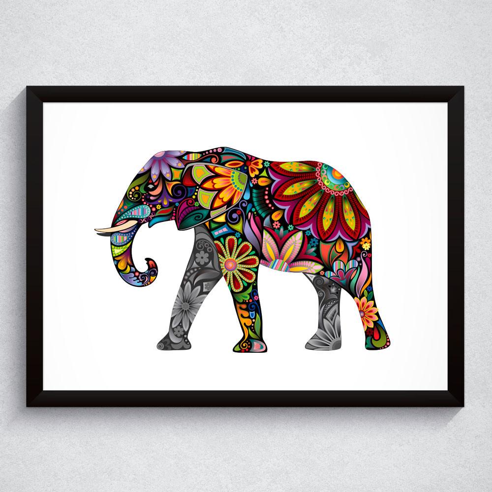Quadro Decorativo Elefante Floral