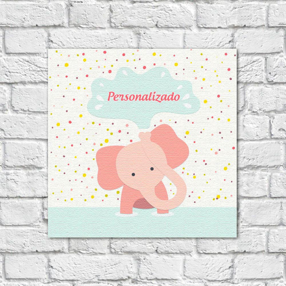 Quadro Decorativo Infantil Elefante com Nome Personalizado