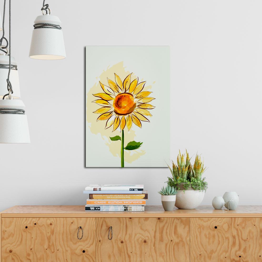 Quadro Decorativo Desenho Girassol - Em Canvas