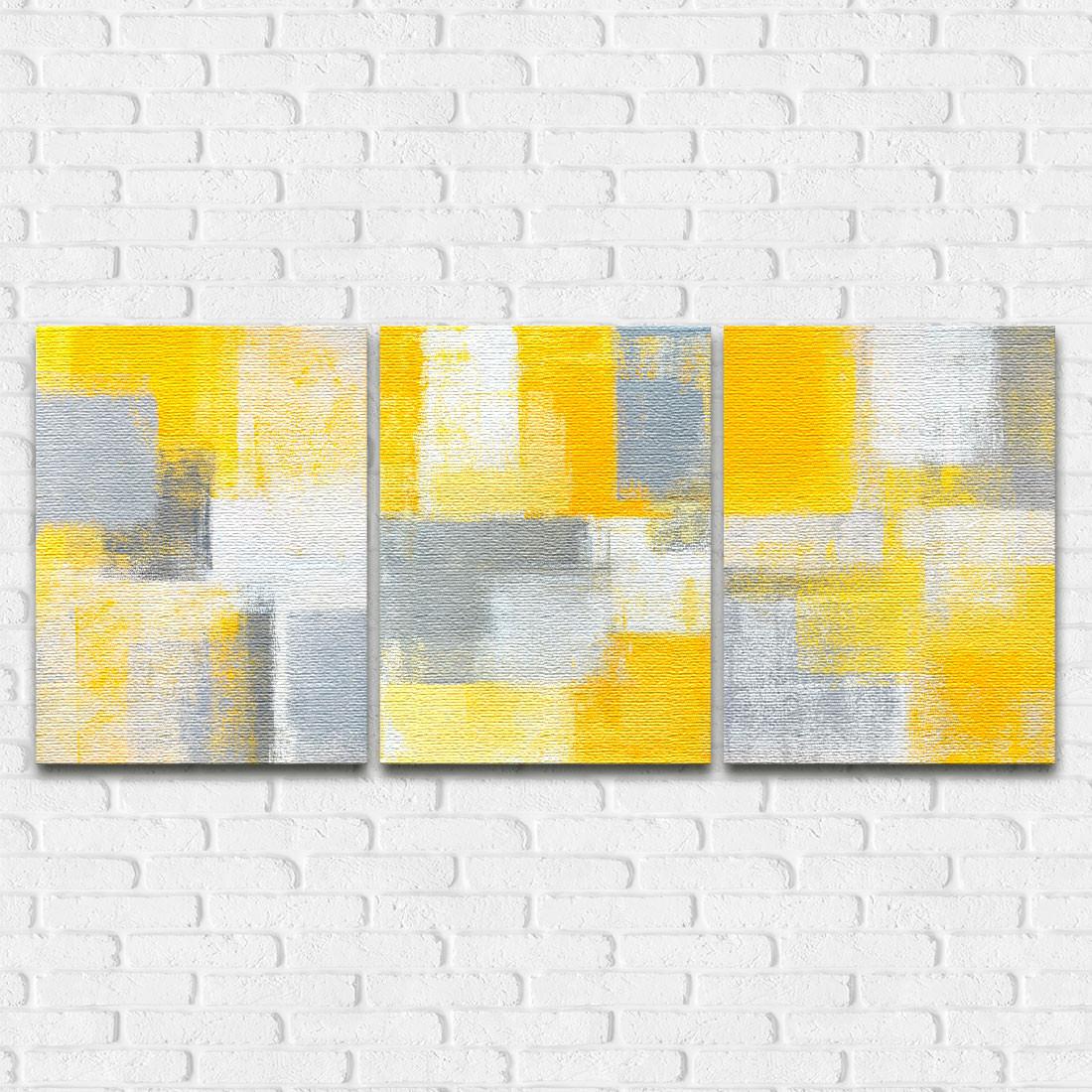 Quadro Decorativo Pintura Abstrata Amarelo - Em Canvas