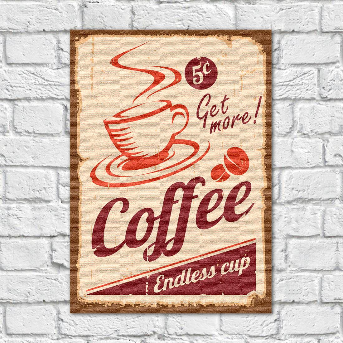 Quadro Decorativo Vintage Coffee - Em Canvas