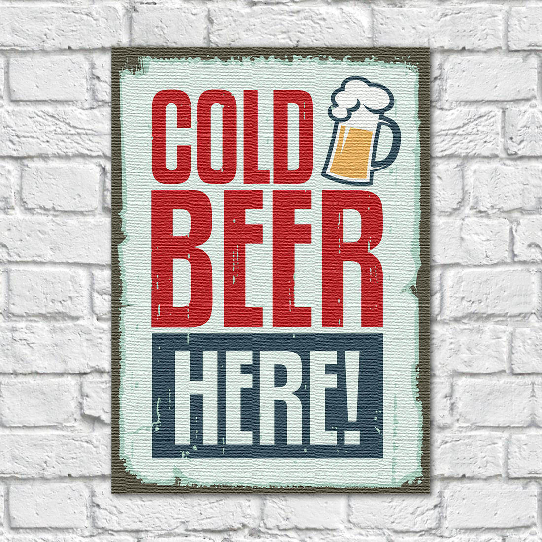 Quadro Decorativo Vintage Cold Beer Here - Em Canvas
