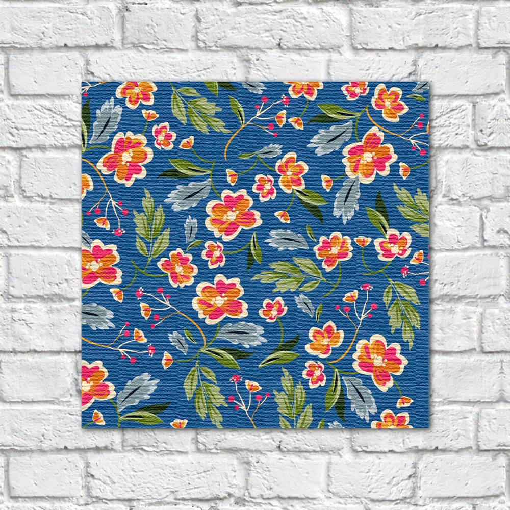 Quadro Decorativo Estampa Floral Fundo Azul