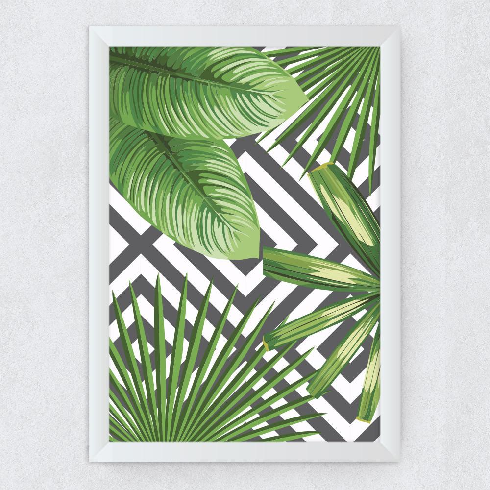 Quadro Decorativo Floral Geométrico