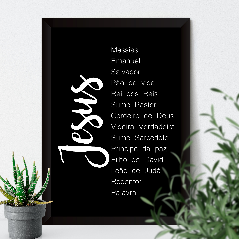 Quadro Decorativo Nomes de Jesus - Fundo Preto