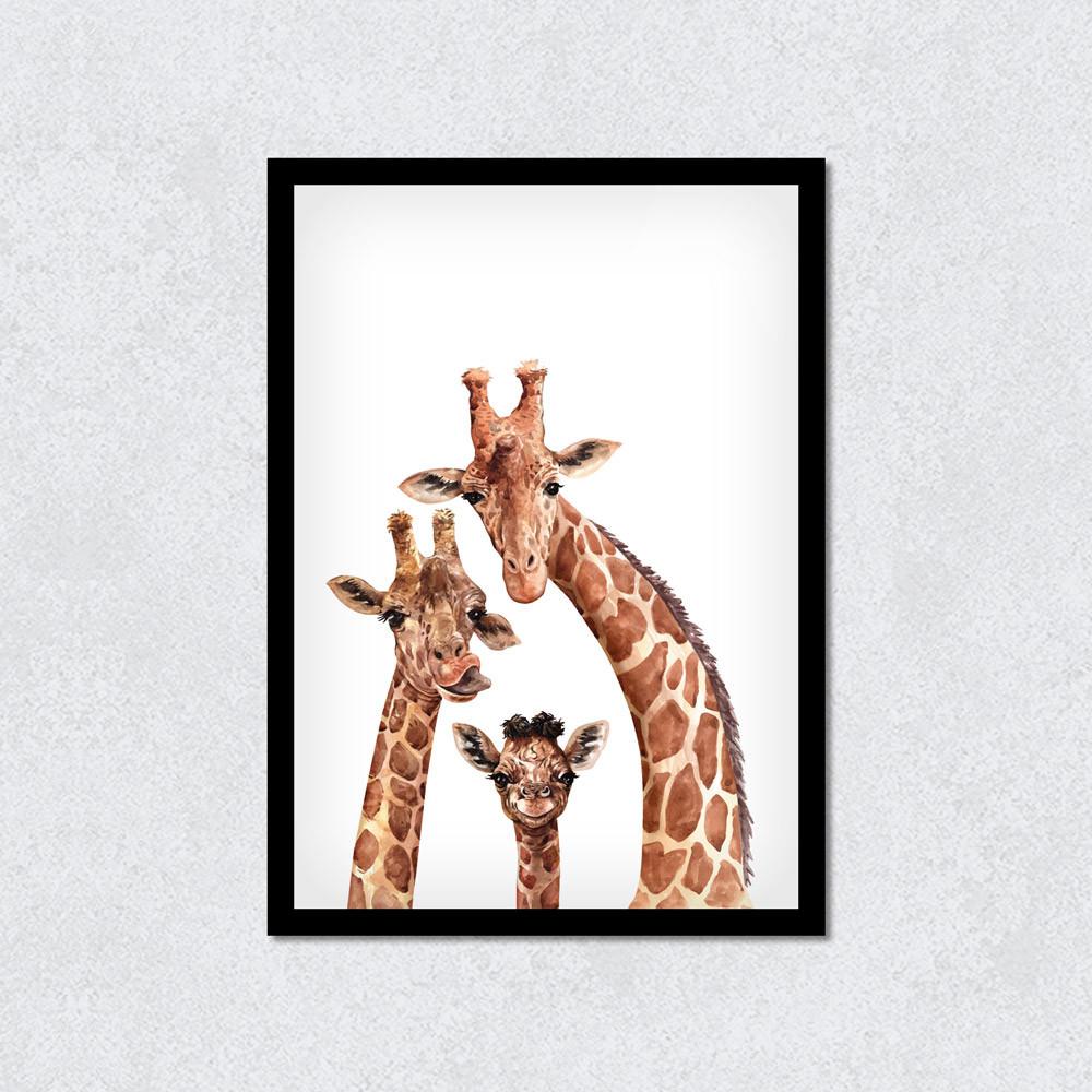 Quadro Decorativo Girafas Com Moldura Preta