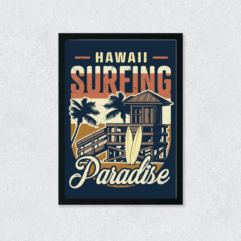 Quadro Decorativo Hawaii Surfing Paradise