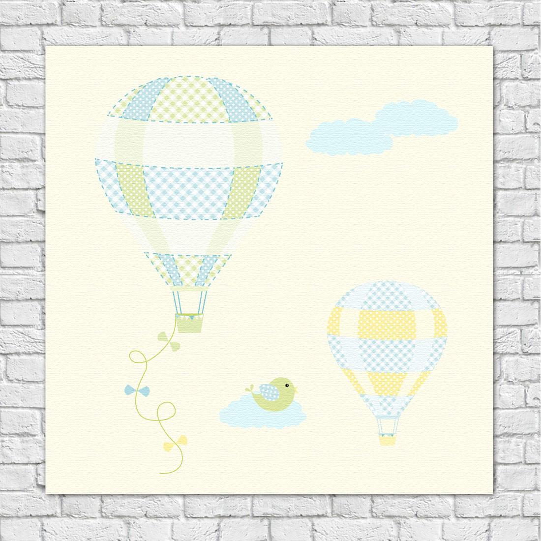 Conjunto de Quadros Decorativos Infantil Baloes
