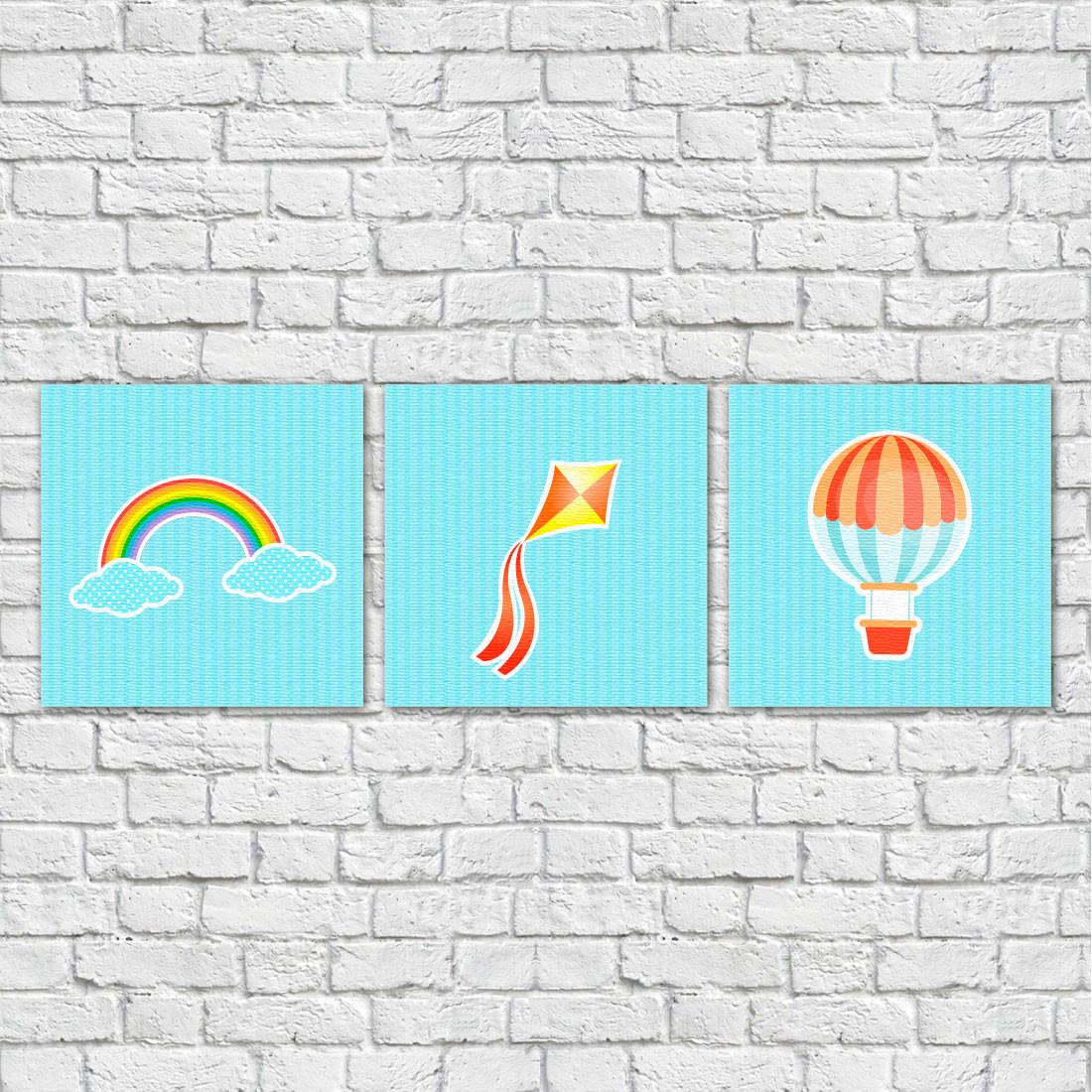 Conjunto de Quadros Decorativos Infantis Balão, Pipa e Arco-íris