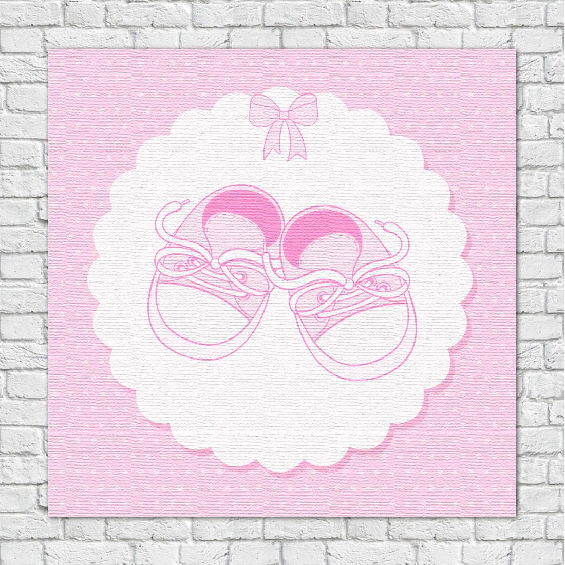 Quadro Decorativo Infantil Sapatinho Rosa