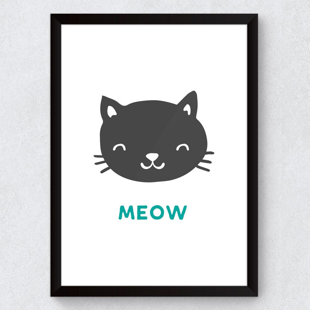 Quadro Decorativo Infantil Meow