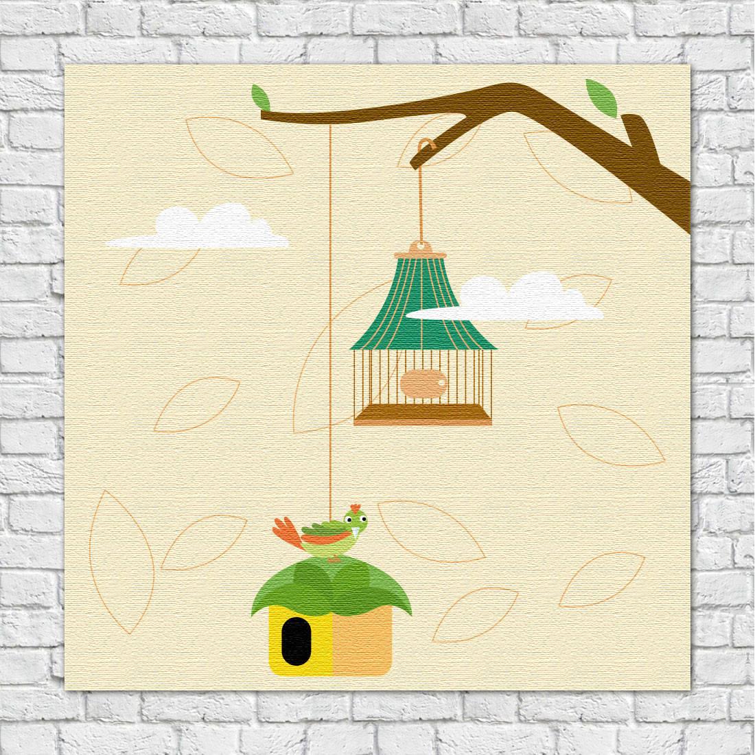 Quadro Decorativo Infantil Galho e Gaiola