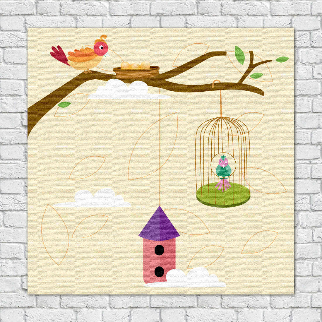 Quadro Decorativo Infantil Gaiolas