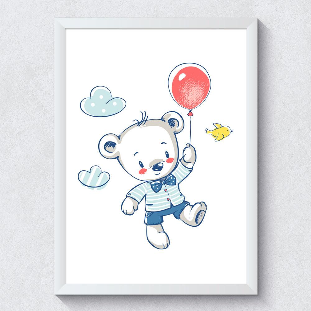 Quadro Decorativo Infantil Ursinho Balão