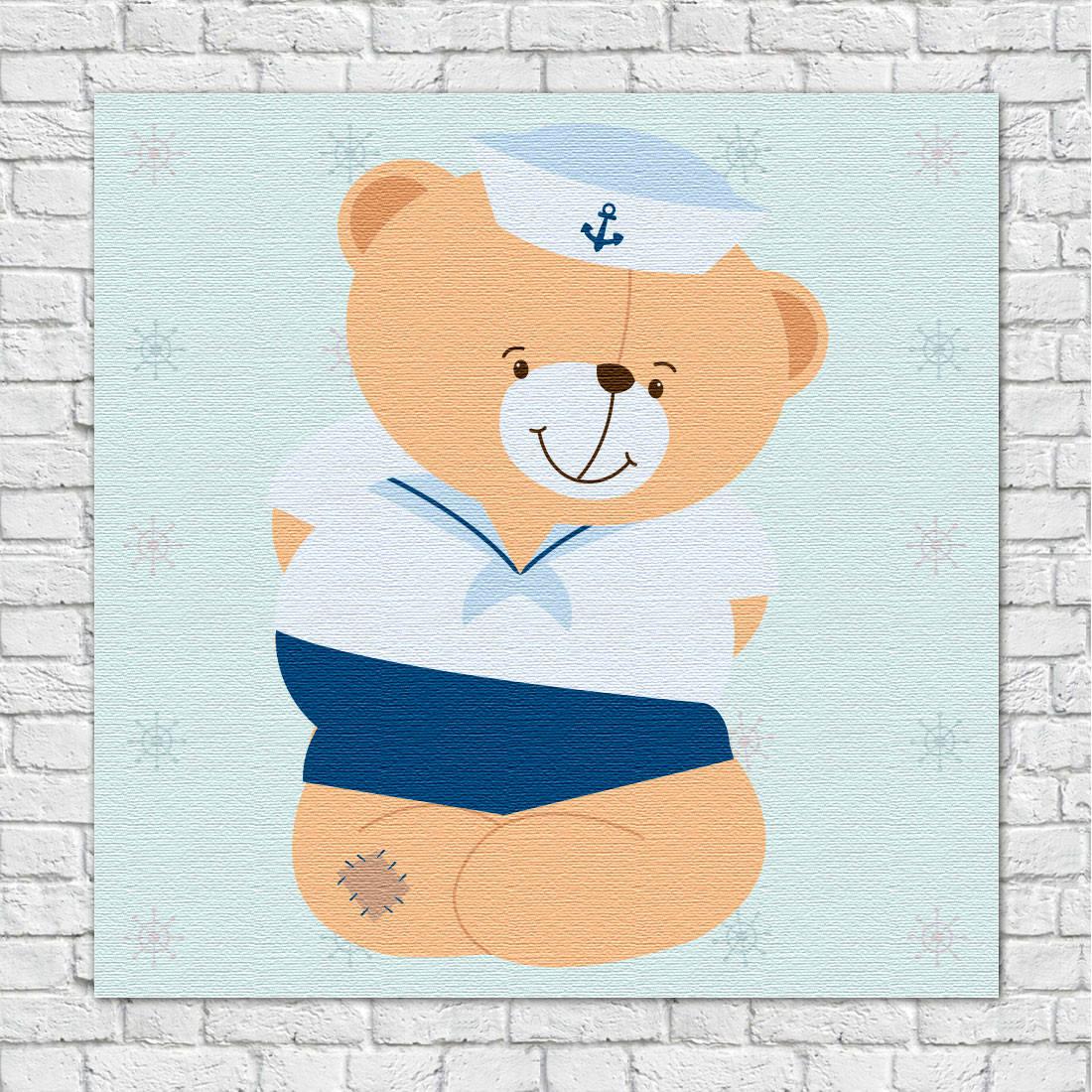 Quadro Decorativo Infantil Ursinho Marinheiro