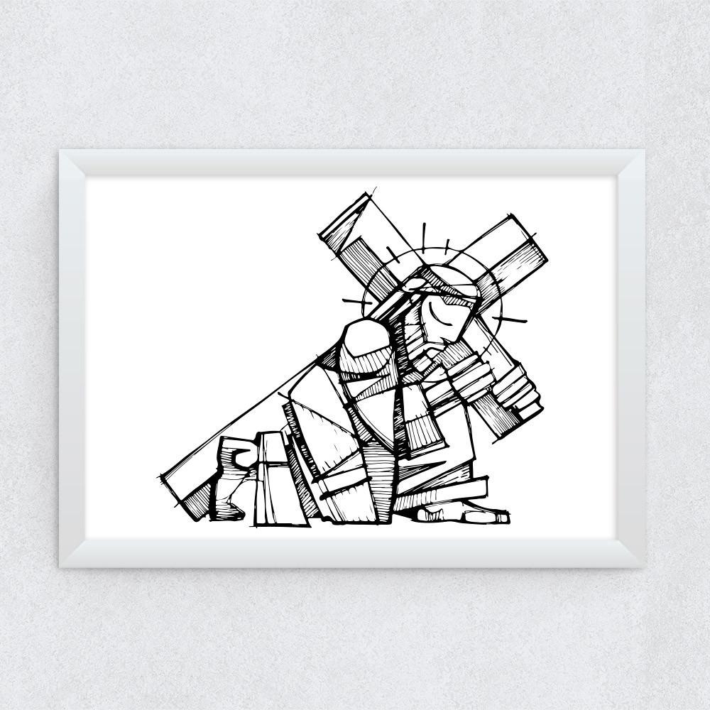 Quadro Decorativo Jesus Carregando a Cruz