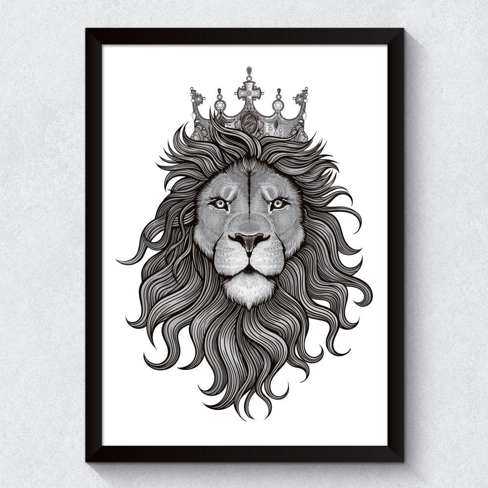 Quadro Decorativo Leão Preto e Branco