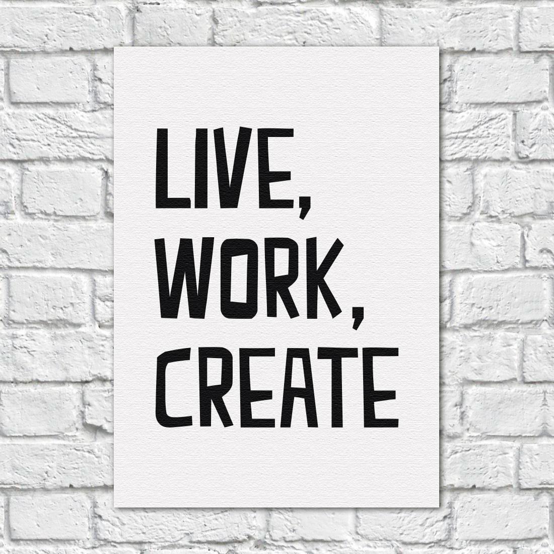 Quadro Decorativo Live, Work, Create (Fundo Branco)