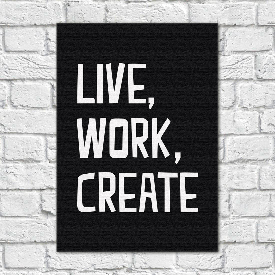 Quadro Decorativo Live, Work, Create (Fundo Preto)