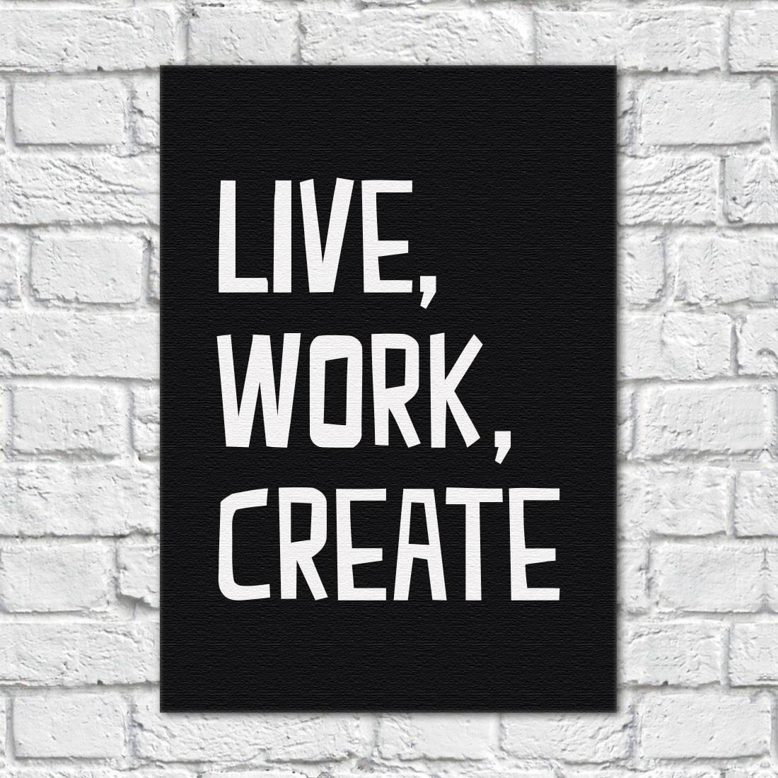 Quadro Decorativo Live, Work, Create (Fundo Preto) - Em Canvas