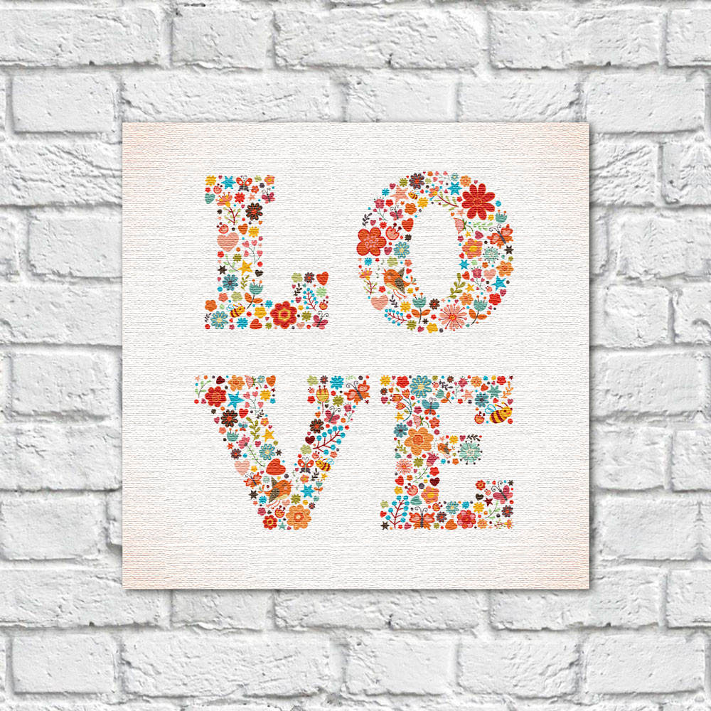 Quadro Decorativo Love Estampa Floral - Em Canvas