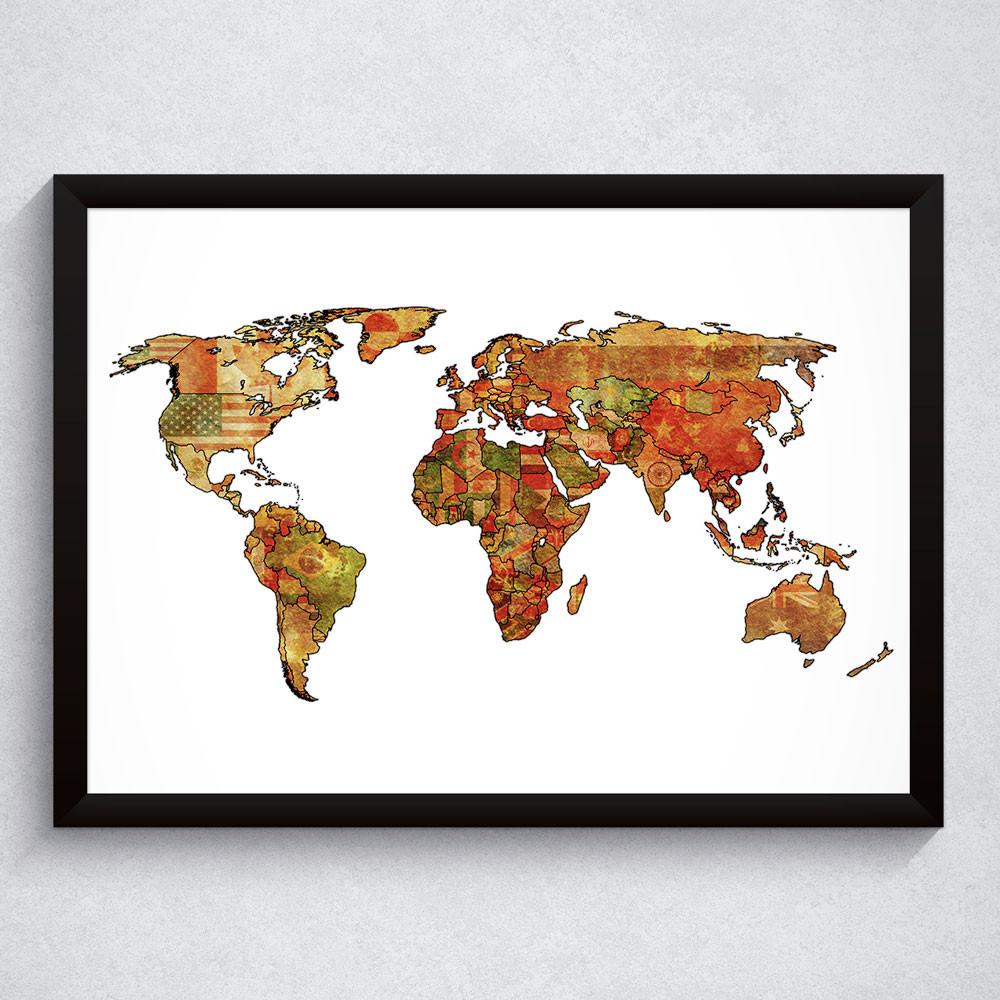 Quadro Decorativo Mapa Mundi Colorido