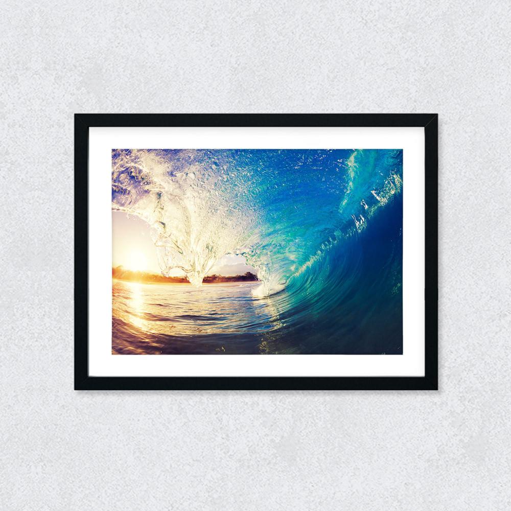 Quadro Decorativo Onda Mar Por do Sol