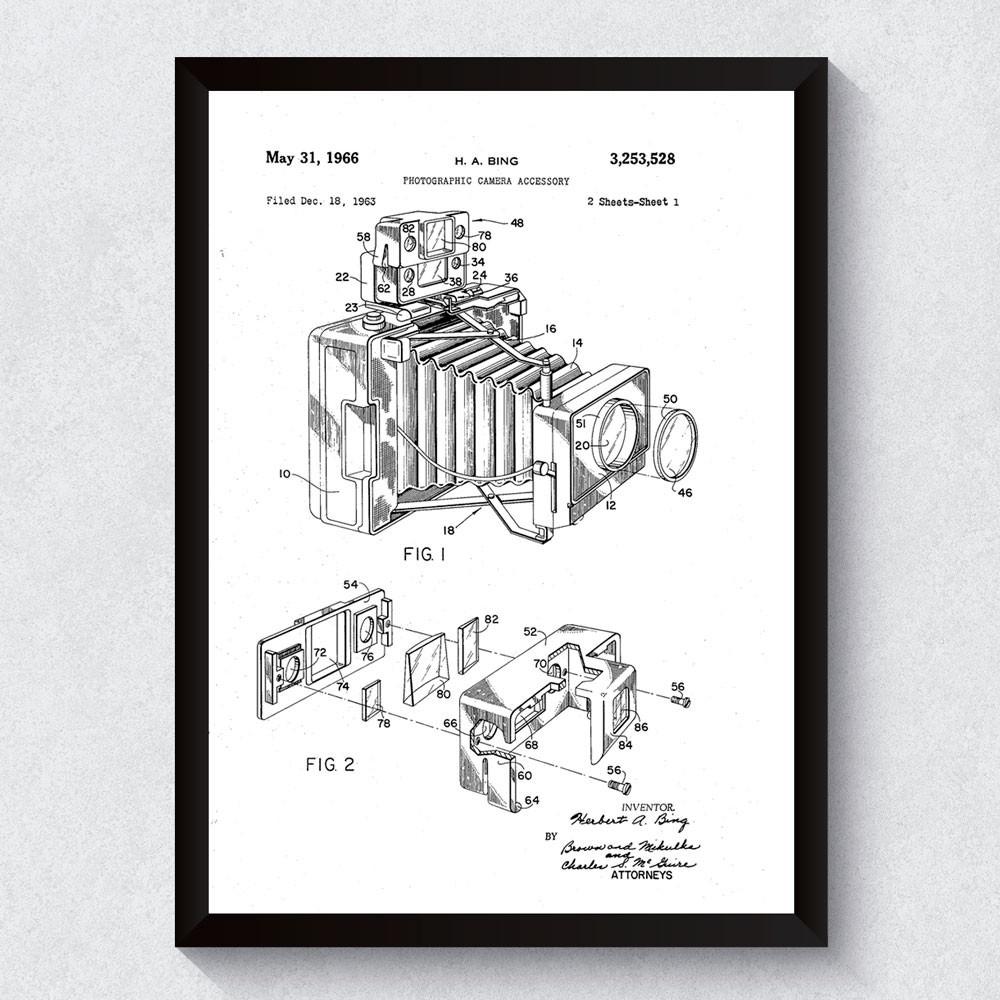 Quadro Decorativo Câmera Fotográfica Patente