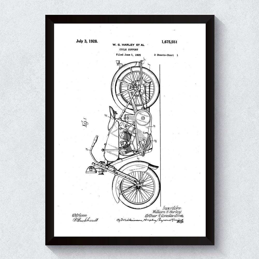 Quadro Decorativo Harley Davidson Patente