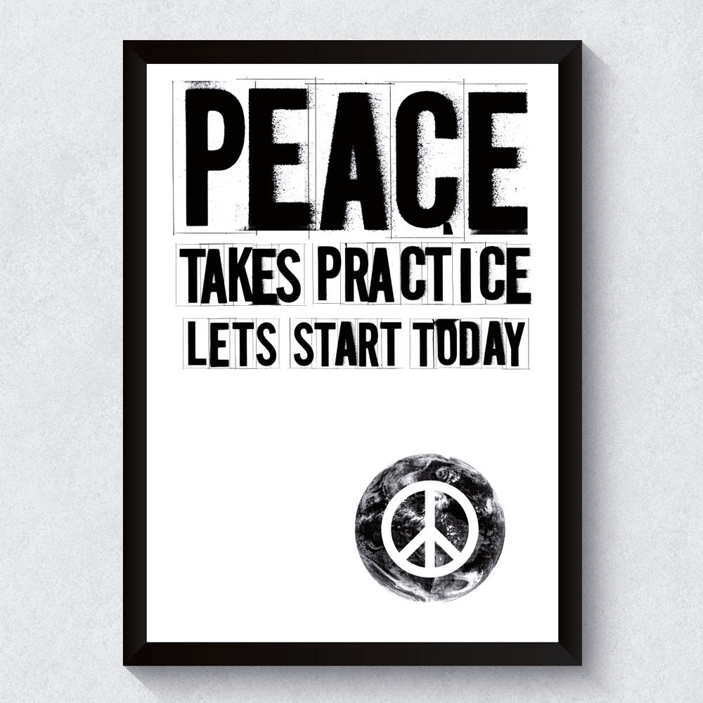 Quadro Decorativo Peace Takes Practice
