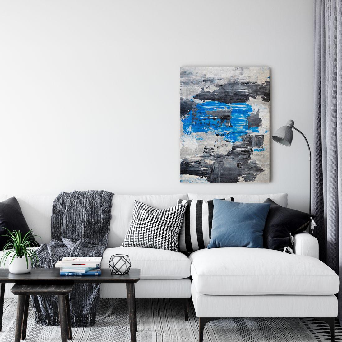 Quadro Decorativo Abstrato Manchas de Tinta Azul e Cinza