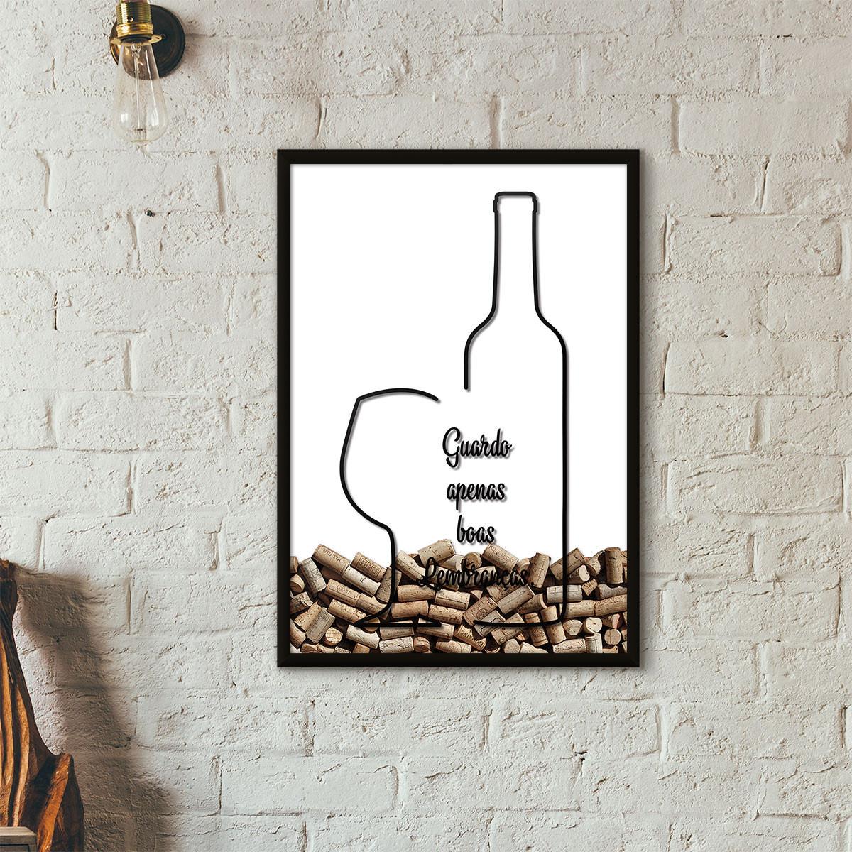 """Quadro Porta Rolhas de Vinho - """"Guardo Apenas Boas Lembranças"""" (Moldura Preta) - Fundo Branco"""