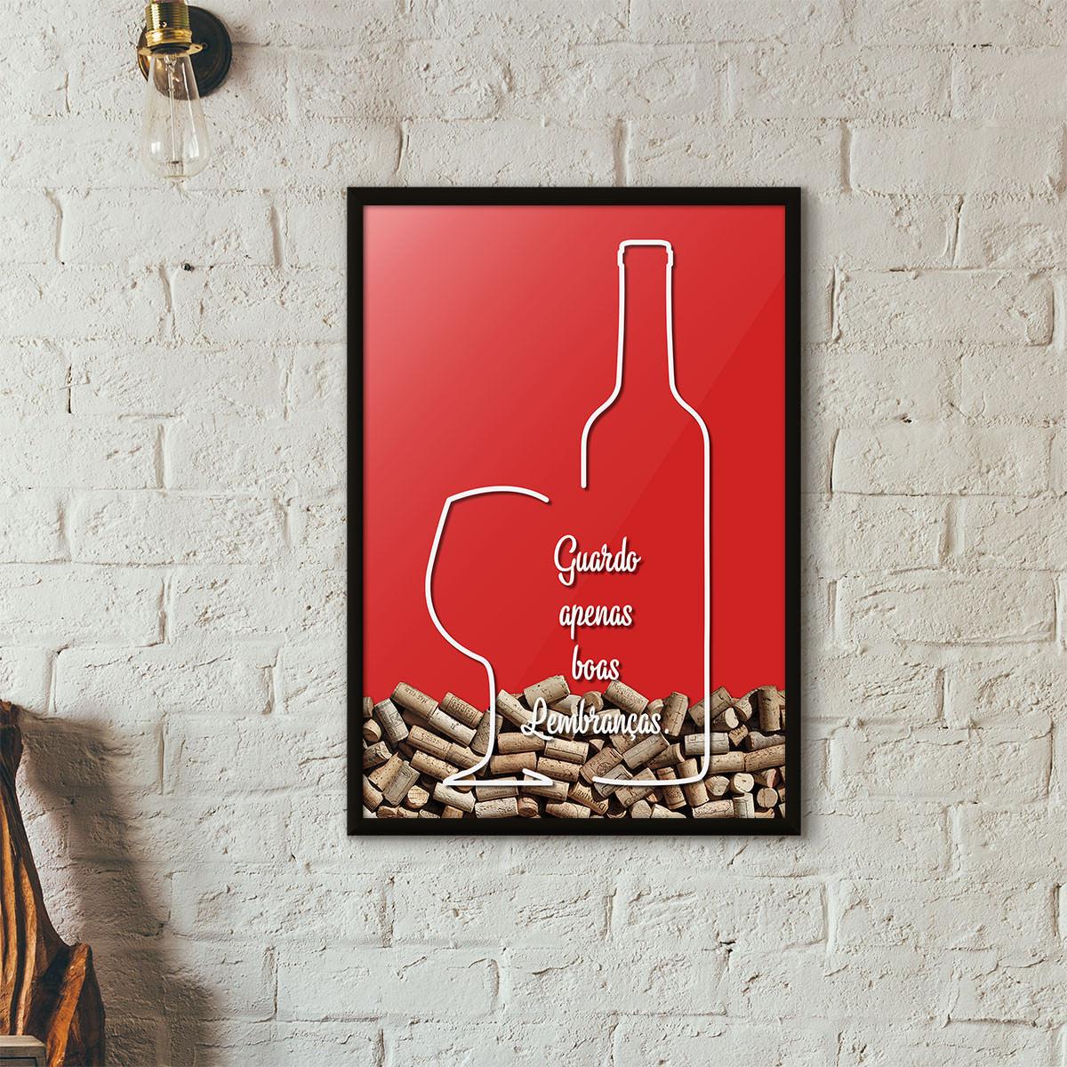 """Quadro Porta Rolhas de Vinho - """"Guardo Apenas Boas Lembranças"""" (Moldura Preta) - Fundo Vermelho"""