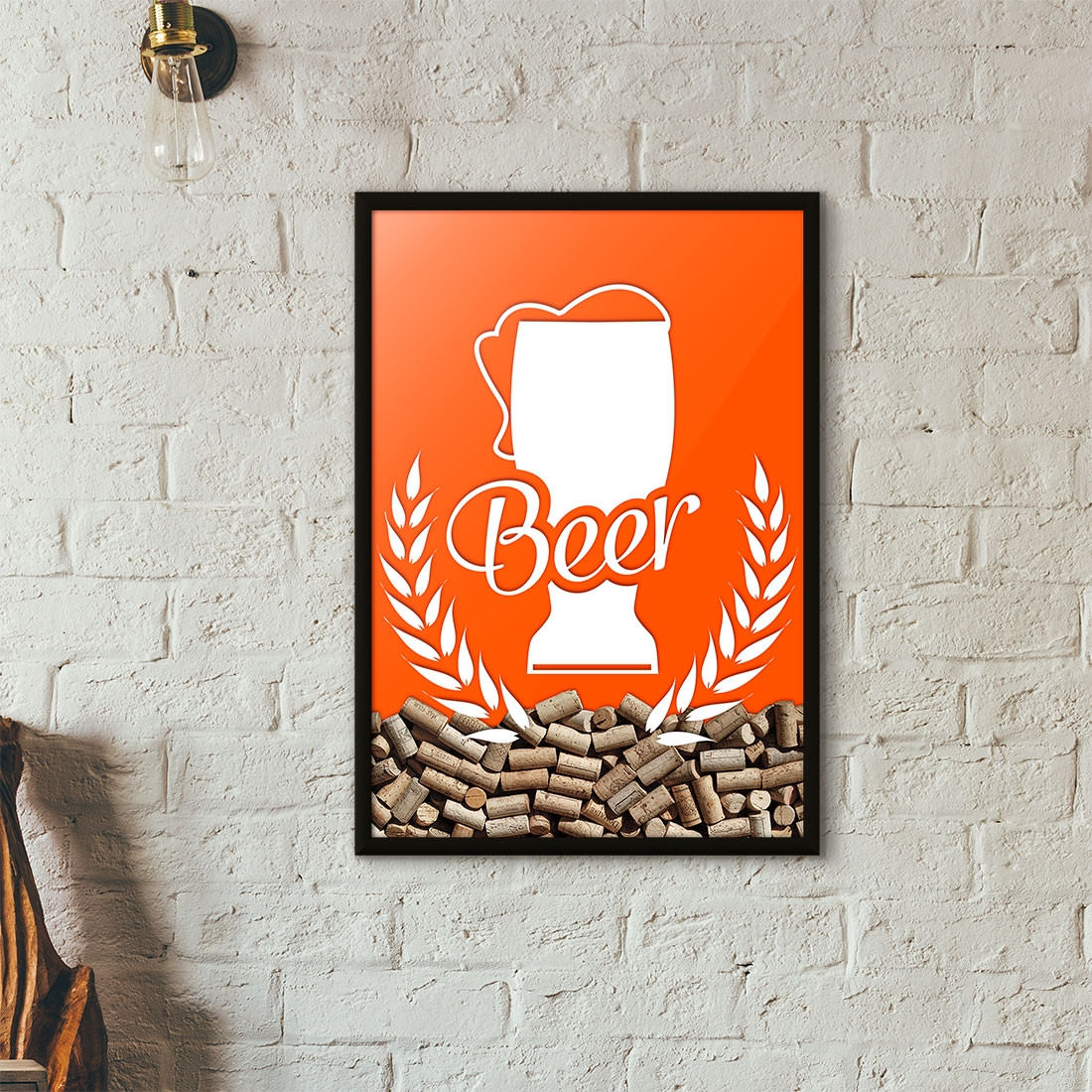 Quadro Porta Tampinhas de Cerveja - Tulipa Beer - Laranja