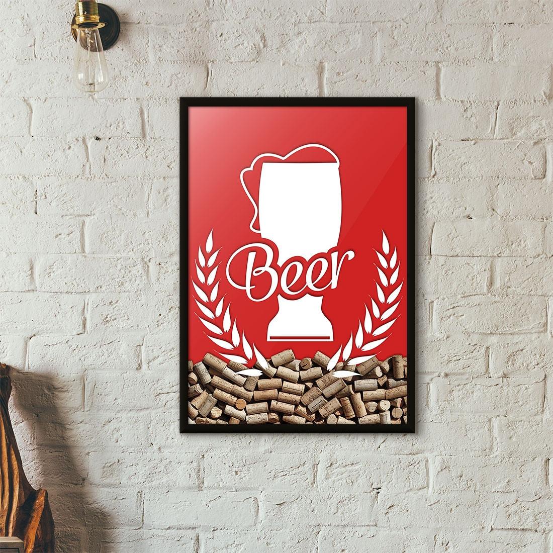 Quadro Porta Tampinhas de Cerveja - Tulipa Beer - Vermelho