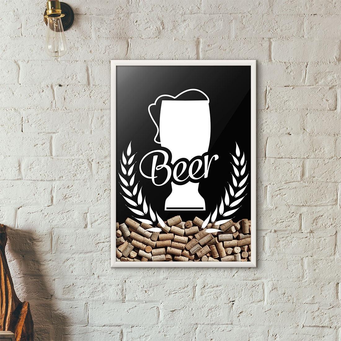 Quadro Porta Tampinhas de Cerveja - Tulipa Beer - (Moldura Branca)
