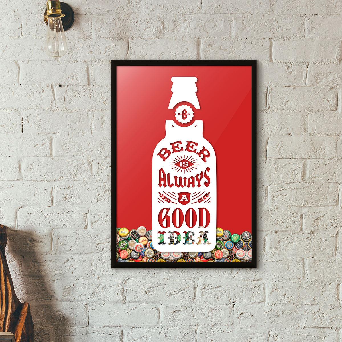 """Quadro Porta Tampinhas de Cerveja - """"Beer Is Always a Good Idea"""" (Moldura Preta) - Fundo Vermelho"""