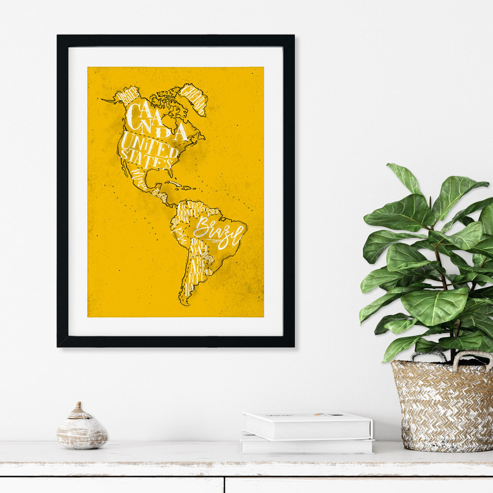 Quadro Decorativo Mapa Retrô América