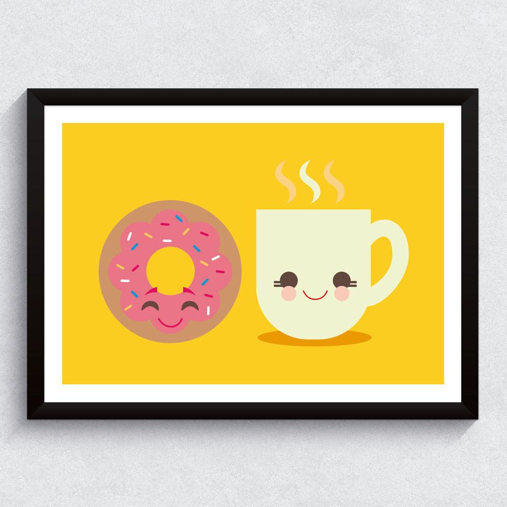 Quadro Decorativo Rosquinha e Café