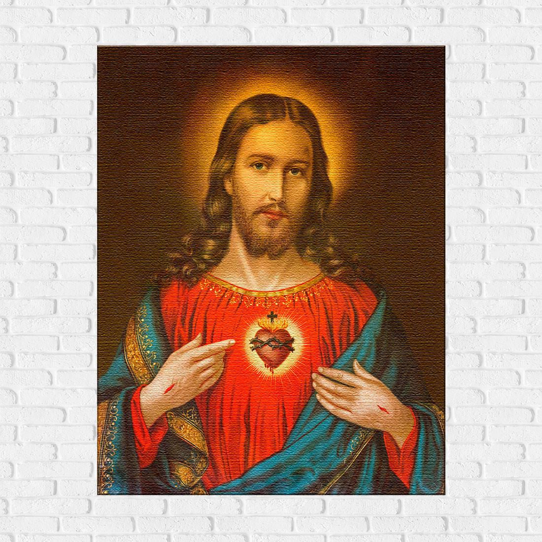 Quadro Decorativo Sagrado Coração de Jesus - Em Canvas