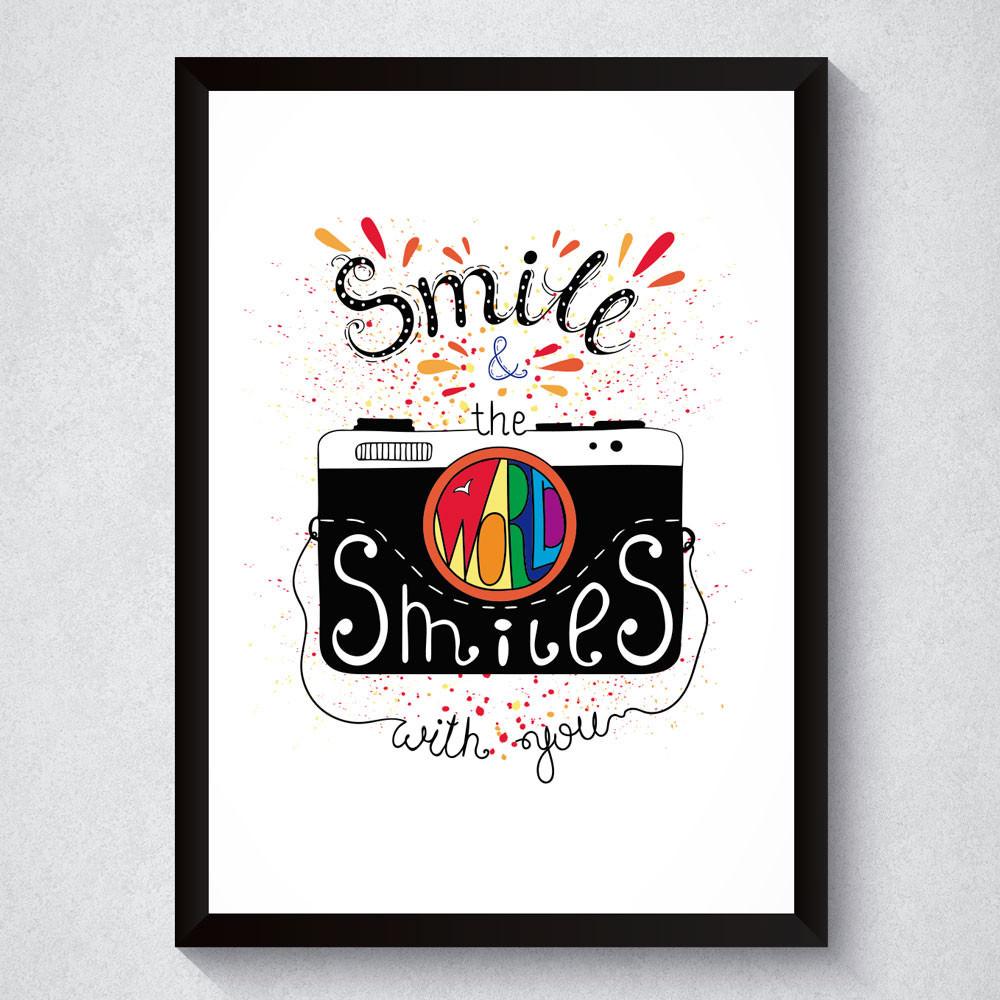 Quadro Decorativo Smile & The World Smiles With You