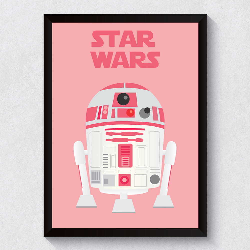 Quadro Decorativo R2D2 Pink (Star Wars)