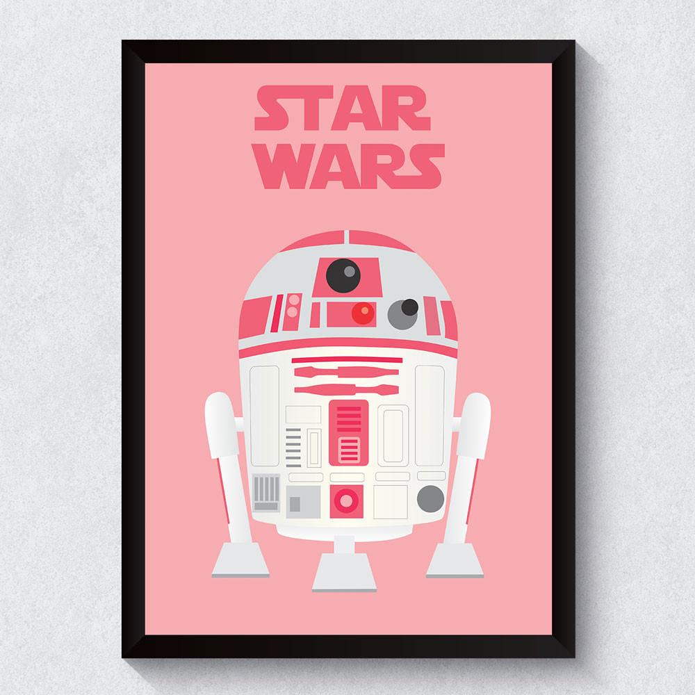 Quadro Decorativo R2D2 Pink (Star Wars)