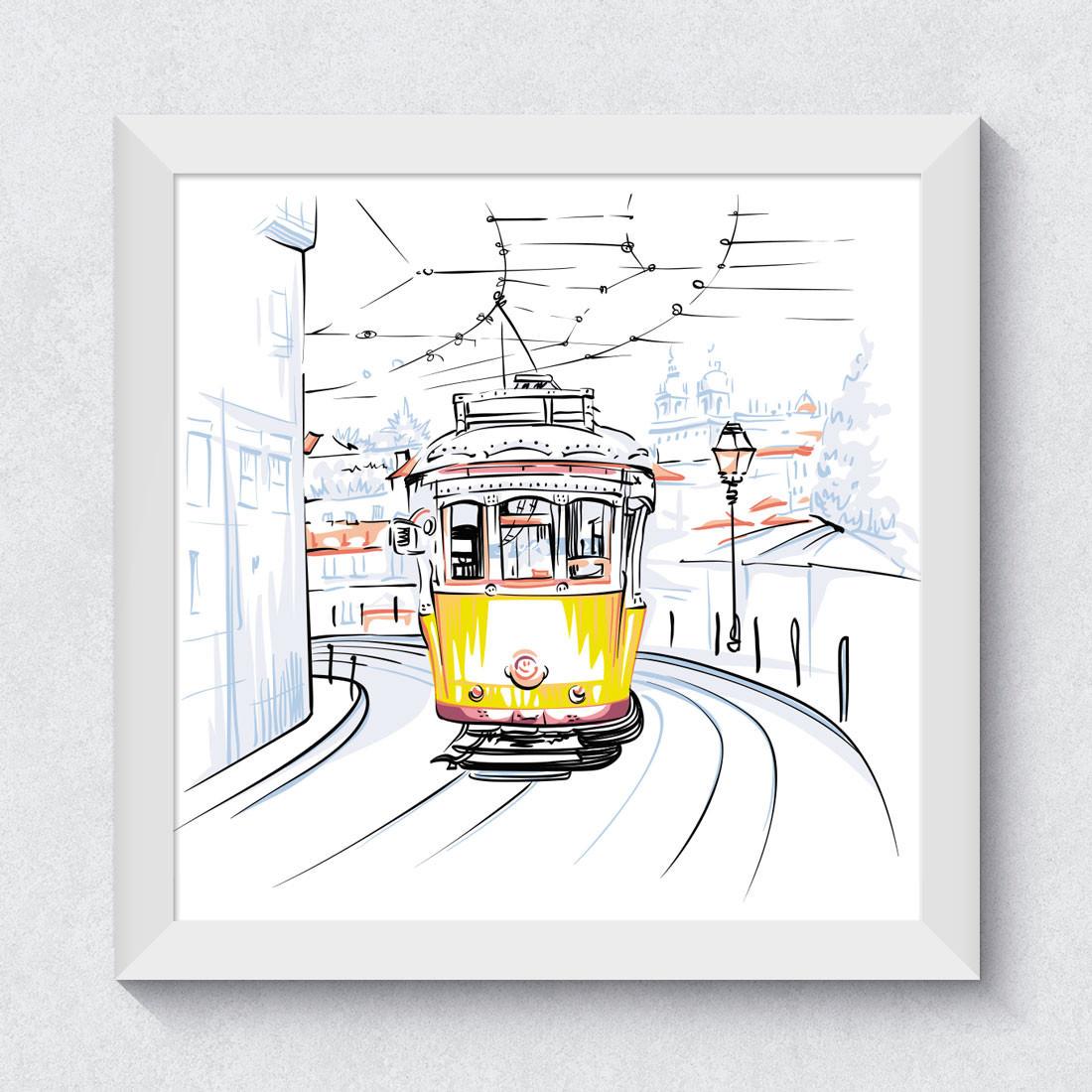 Quadrinho Decorativo Trem Amarelo Lisboa Portugal